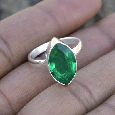 Marquise Faceted Emerald Gemstone 925 Sterling Silver Handmade Ring Size 7 5