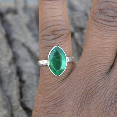 Marquise Faceted Emerald Gemstone 925 Sterling Silver Handmade Ring Size 7 2