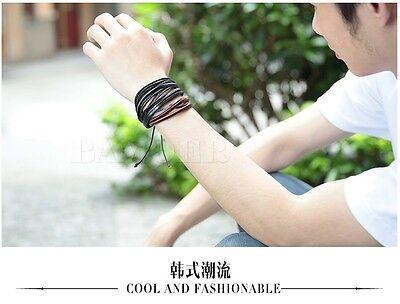 2PCS Lot Mens Girls Wrap Leather Charm Bracelet Women Fashion Jewelry Chain