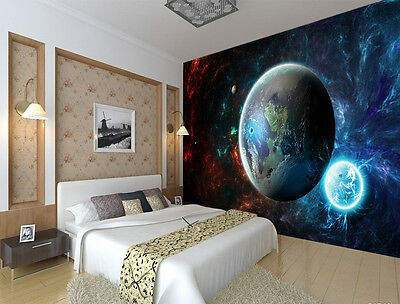 Cool outer space planet full wall mural photo wallpaper for Cool mural wallpaper