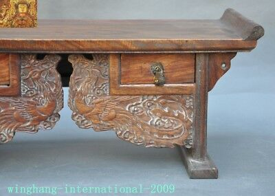 Chinese Huanghuali Old wood carved Phoenix Bird drawer coffee table Desk statue 3