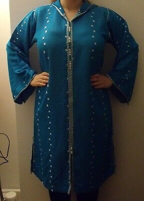 Moroccan     Djellaba    Kaftan      Blue & White   North African Dress 4