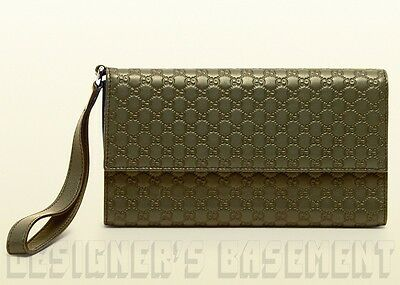 hot sale online af1ce b9f4a GUCCI GREEN LEATHER Micro GUCCISSIMA travel document WRISTLET case NIB  Authentic