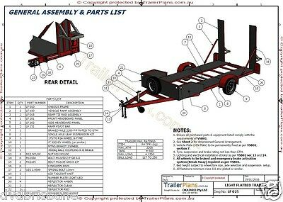 Trailer Plans - 2200kg SINGLE AXLE FLATBED CAR TRAILER PLANS - PRINTED HARDCOPY 8