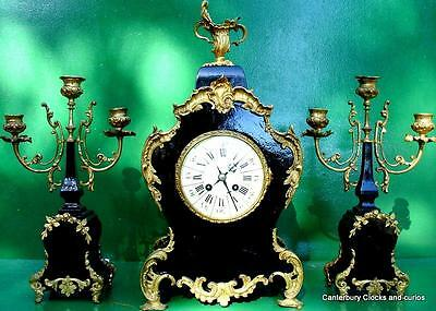 ANTIQUE JAPY FRERES 8 DAY ORMOLU ROCOCO BOULLE TYPE CANDELLABRAS CLOCK SET 1880c 3