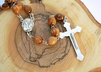Terreno da Terra Santa Gesù Cristo Santo Rosario Collana Perline de Legna Olivo