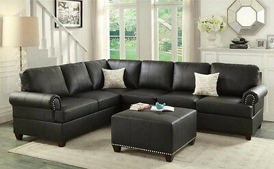 REVERSIBLE LOVESEAT WEDGE Sofa Couch 2pc Sectional Set Black Bonded ...