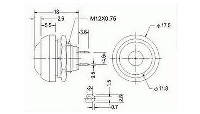 10X Bunte 12mm Wasserdicht momentary EIN / AUS Taster Mini Rundenschalter DBSD 4