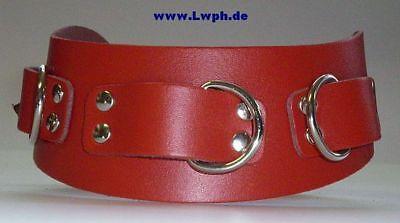 anatomische Leder-Halsbänder 3-D-Ringe breit in vielen Farben + Variationen 2
