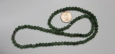 "Genuine 100% Natural JADE Type A Beautiful Oily Green Jadeite Necklace 5.2mm 19"" 6"