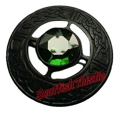 "Men's Scottish Kilt Fly Plaid Brooches Green Stone Jet Black 3""/Celtic Brooches"