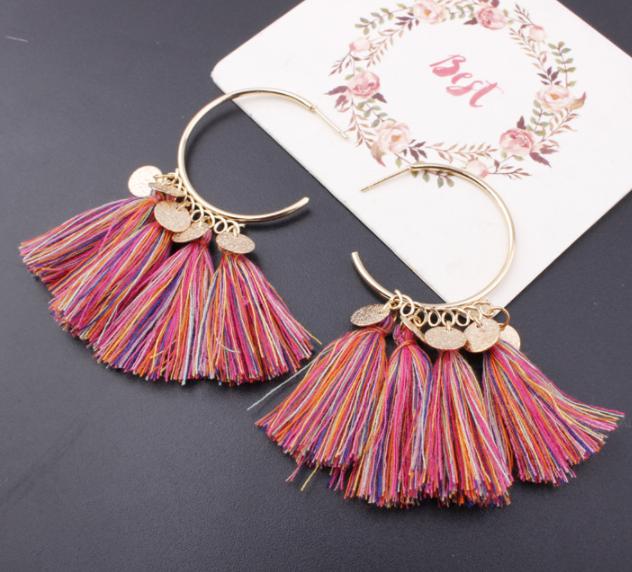 Fashion Bohemian Earrings Women Vintage Long Tassel Fringe Boho Dangle Earrings 6