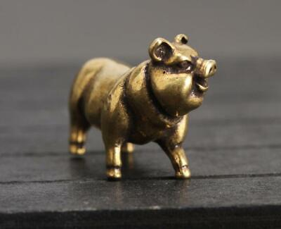 "1.3""Collection Curio Chinese Bronze 12 Zodiac Animal Likable Pig Small Statue 5"