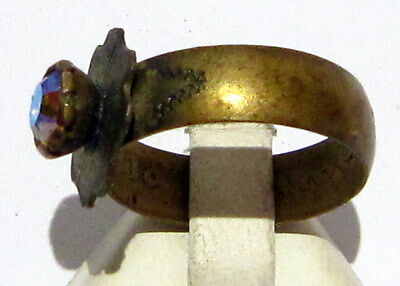 VINTAGE NICE BRONZE RING WITH STONE FROM THE EARLY 20th CENTURY # 972 4