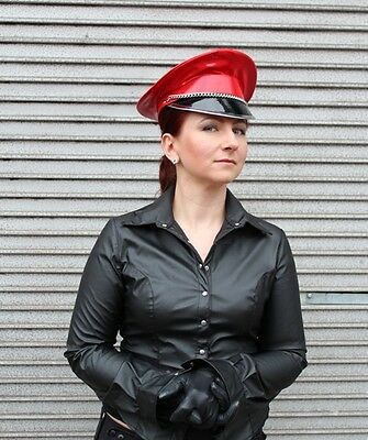 ... Red PVC Dominatrix Hat Military Cap for Spectacular Striking Look M L  adjustable 2 529984e9480
