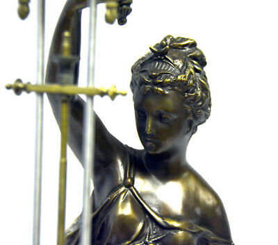 "Large Mystery Brass Lady Diana 8 Day 4"" Cobalt Blue Ball Swinging Clock 4"