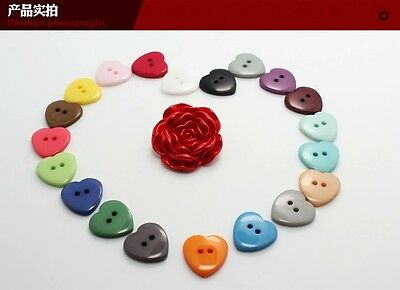 100PCS HEART SHAPED Button Plastic Buttons Fit Sewing or Scrapbooking  DIY-Craft