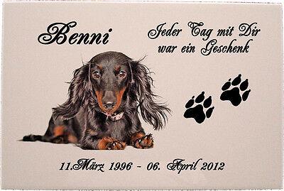 Grabstein Tiergrabstein Gedenktafel Keramik Hund-p06 ►Ihr Foto + Text◄ 30x20 cm 2