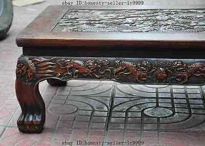 old chinese huanghuali wood carved dragon beast foo dog lion desk Tea table A 2