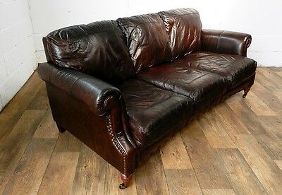 PAIR of VICTORIAN STYLE CIGAR BROWN STUD LEATHER CHESTERFIELD 3 SEATER SOFAS 8