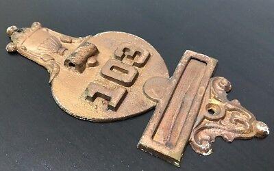 Antique Brass Door Knocker Plaque Numbered Architecture Salvage Gold Cup 103 VTG 2