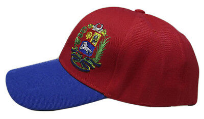 Venezuela Country Letters Emblem Red With Blue Bill 3-D Embroidered Cap Hat 6