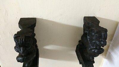 Hindu Temple Yalli Wooden Bracket Corbel Pair Sculpture Yali Statue Rare Decor