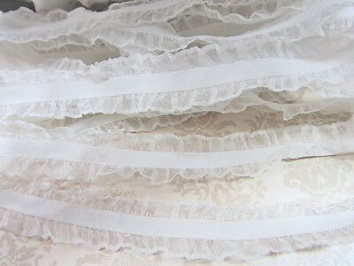 10 yard Elastic//Spandex White Band Ivory Double Scallop Edged Lace//Trim//Sew T176