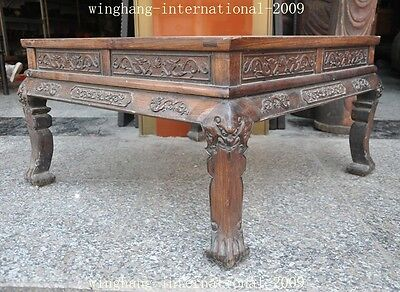 Old China Huanghuali Wood Hand-Carved Dragon phoenix Statue Ancient Tables Desk 5
