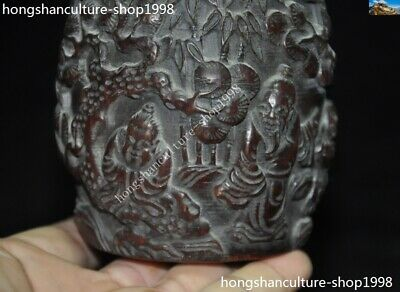 Marked Chinese Dynasty Ox horn Carved Pine tree Old Man Drum shape Box Boxes 3