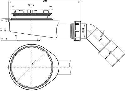 Ablaufgarnitur für Duschwanne Brausetasse Ø 90 mm Superflach 65 mm Alcaplast