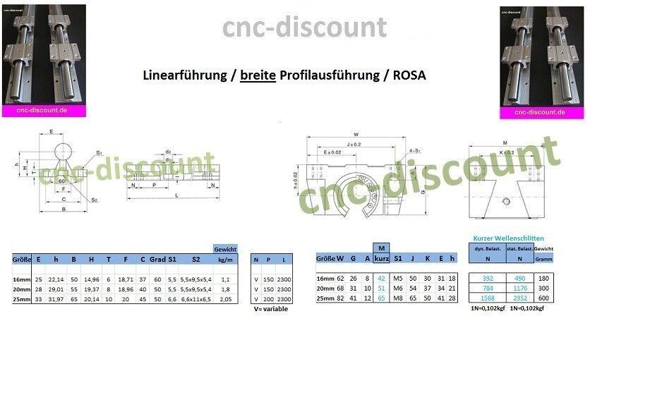 CNC Set 16x 150mm 2x Linearführung 4x Linearwagen Linear Guide Rail 3D Fräse ros