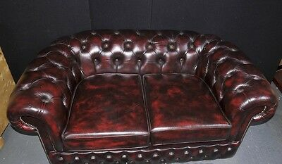 Vintage Leather English Chesterfield Sofa Deep Button Couch 6