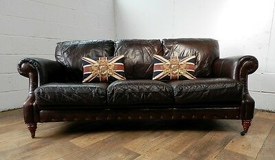 PAIR of VICTORIAN STYLE CIGAR BROWN STUD LEATHER CHESTERFIELD 3 SEATER SOFAS 6