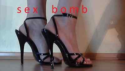 SEXY sandali domina NERO lucido cinturino tacco 15 dal 35 al 44 erotic GLAMOUR ! 3