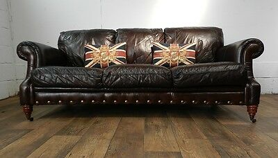 PAIR of VICTORIAN STYLE CIGAR BROWN STUD LEATHER CHESTERFIELD 3 SEATER SOFAS 3