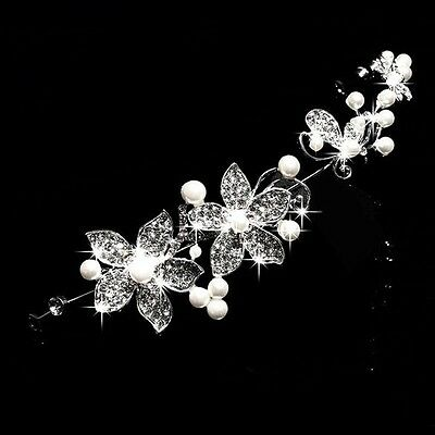 Bridal Hair Accessories Wedding Headpiece Pearl Crystal Flower Vine Tiara
