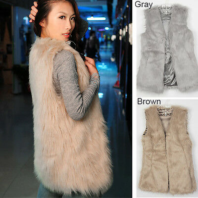 Ladies Faux Fur Women Sleeveless Vest Waistcoat Jacket Gilet Shrug Coat Outwear