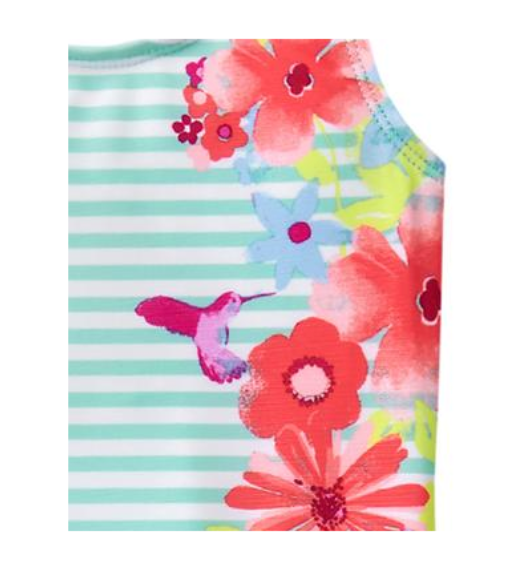 *nwt* Gymboree Little Girls Size 4T 5T Floral Stripes Turquoise 1Pc Swimsuit