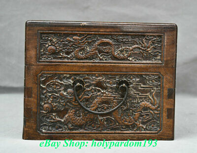 "12"" Old Chinese Huanghuali Wood Carving Palace Dragon Phoenix Jewel Case or Box 9"