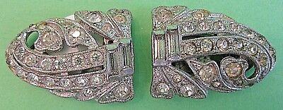 Stunning ANTIQUE DIAMOND GLASS RHINESTONE DRESS CLIPS ART DECO EUVC RARE ELEGANT 5