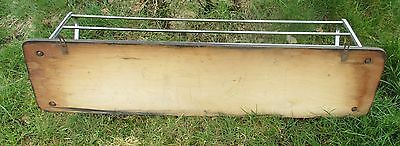 Vintage Wood Chrome Wall Coat Rack Shelf Mid Century Modern Railroad Industrial 4