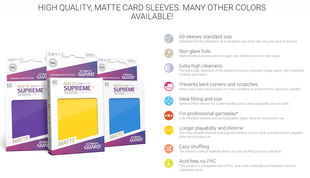 Ultimate Guard Matte Petrol Card Deck Protector Sleeves UX Supreme 62x89mm 60ct