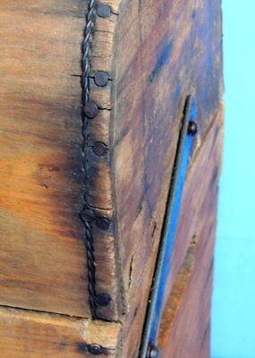 Primitive Antique Higham Rocker Lid Wood Box W/Antique Glass Bottle 9