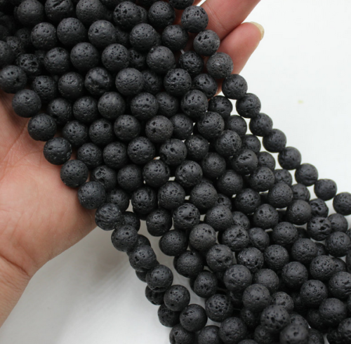 Natural Black Volcanic Lava Gemstone Round Beads 15.5'' 4mm 6mm 8mm 10mm 12mm 3
