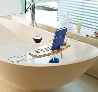 BAMBOO OVER BATH Caddy Bathtub Rack Tray Shelf Portable Wine Tablet ...