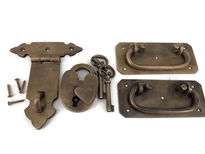 """2 BOX HANDLES latch PADLOC K brass chest old aged style patina 5"""" solid heavy 7"""