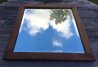 """Vtg Tiger Oak ? American Chestnut ? Wood Plate Glass Beveled Mirror Antique 21"""""""