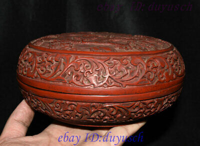 """8"""" Old Chinese Carved Lacquerware Craftwork Dragon pattern casket Jewelry Box 3"""
