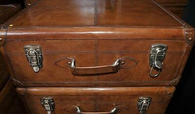 Pair English Leather Campaign Bedside Chests Nightstands Furniture 3